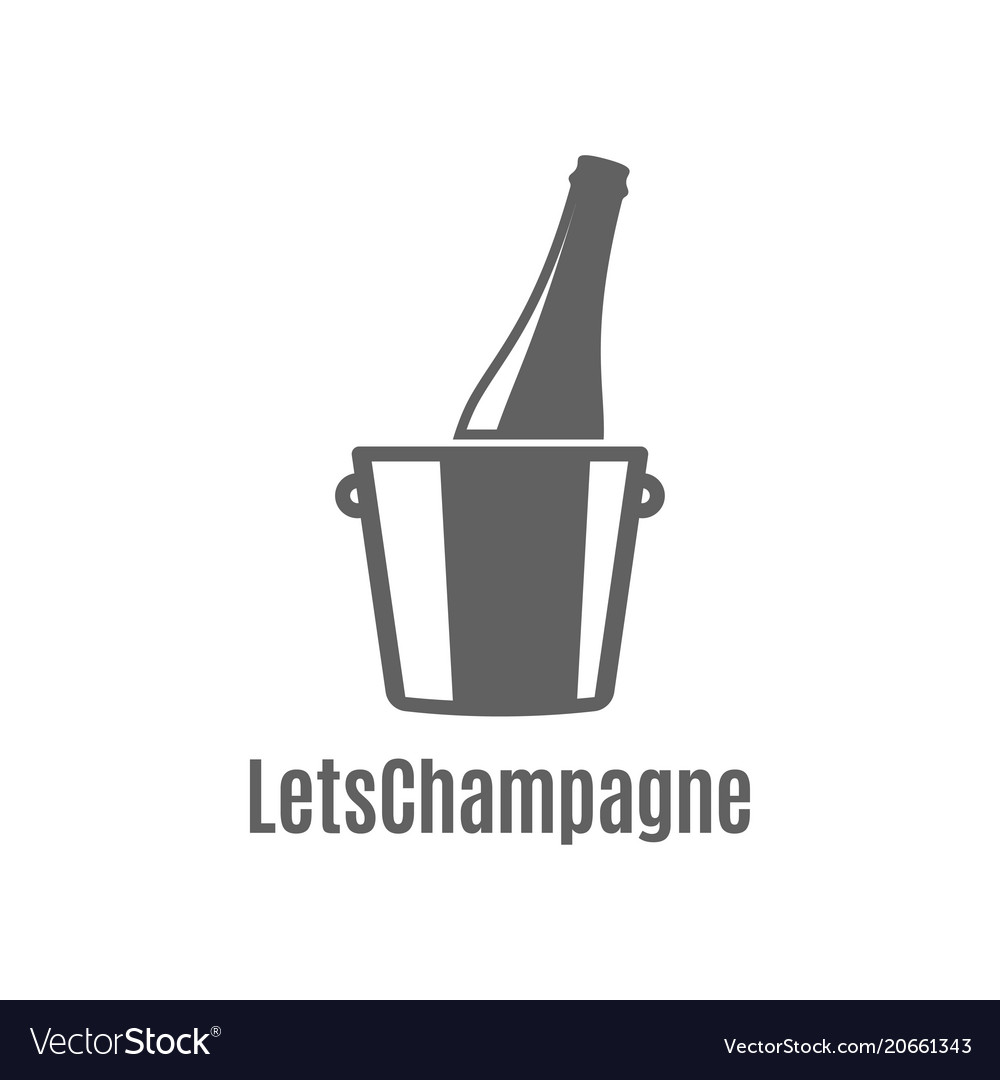 Champagne bottle in an ice bucket icon on white