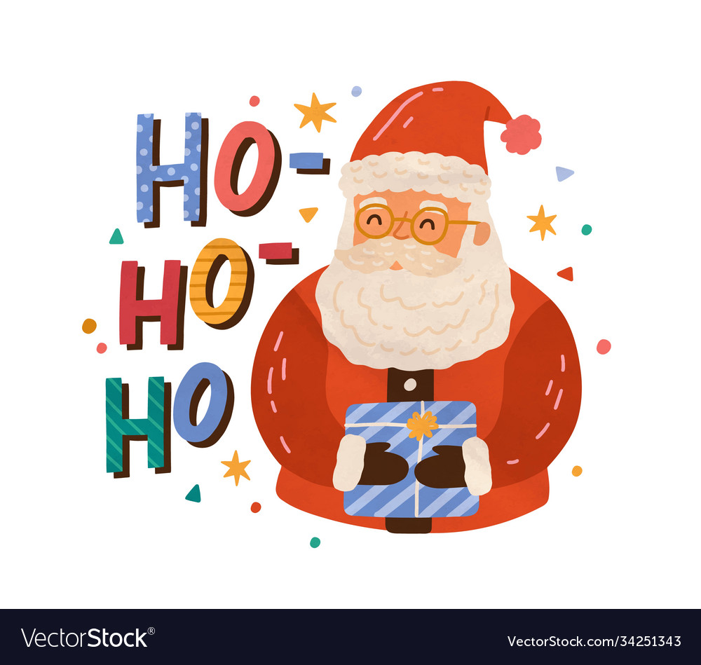 Christmas greeting card with santa claus holding