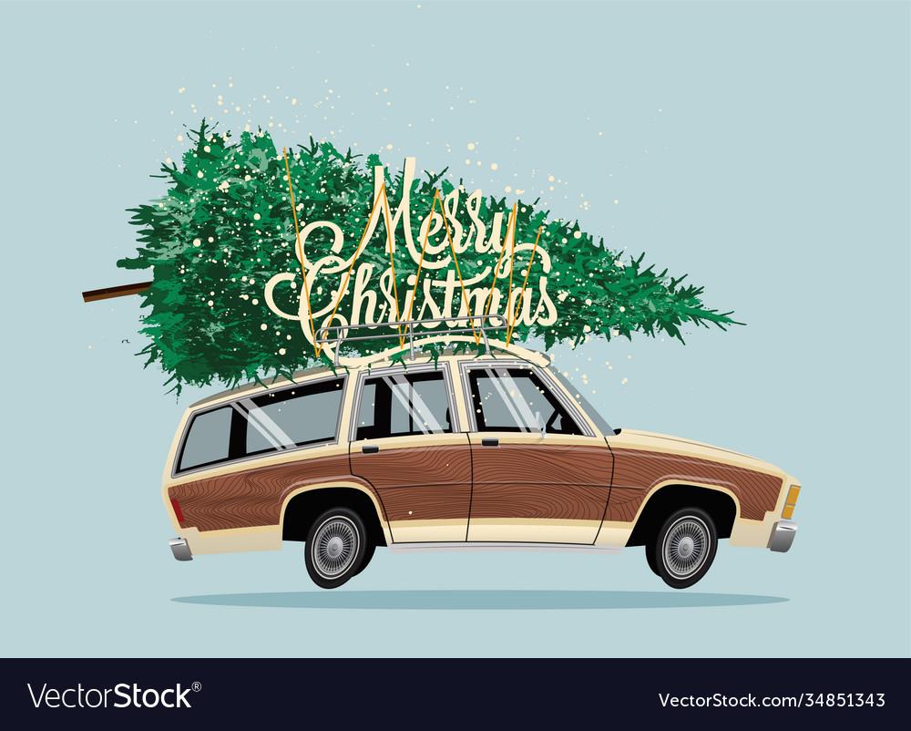 Classic vintage cartoon family car with christmas