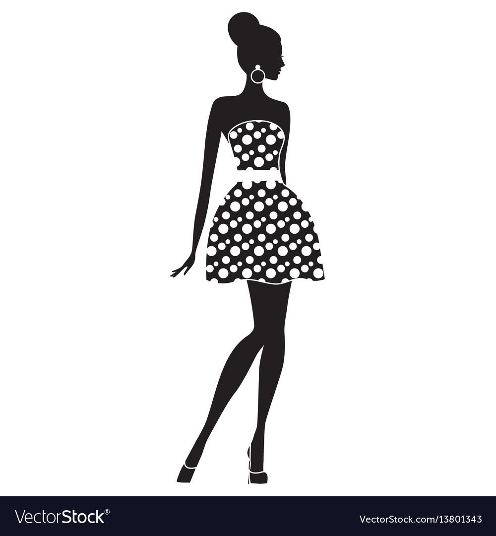 Fashion model silhouette of beautiful woman