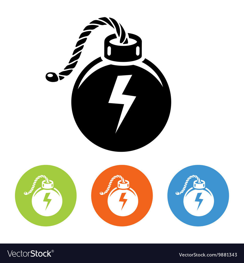 Flat bombs with lit fuse icons vector image