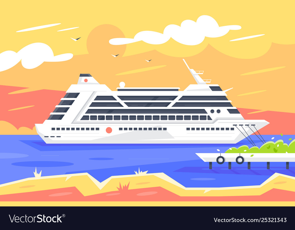 Flat cruise ship for sea travel and passenger