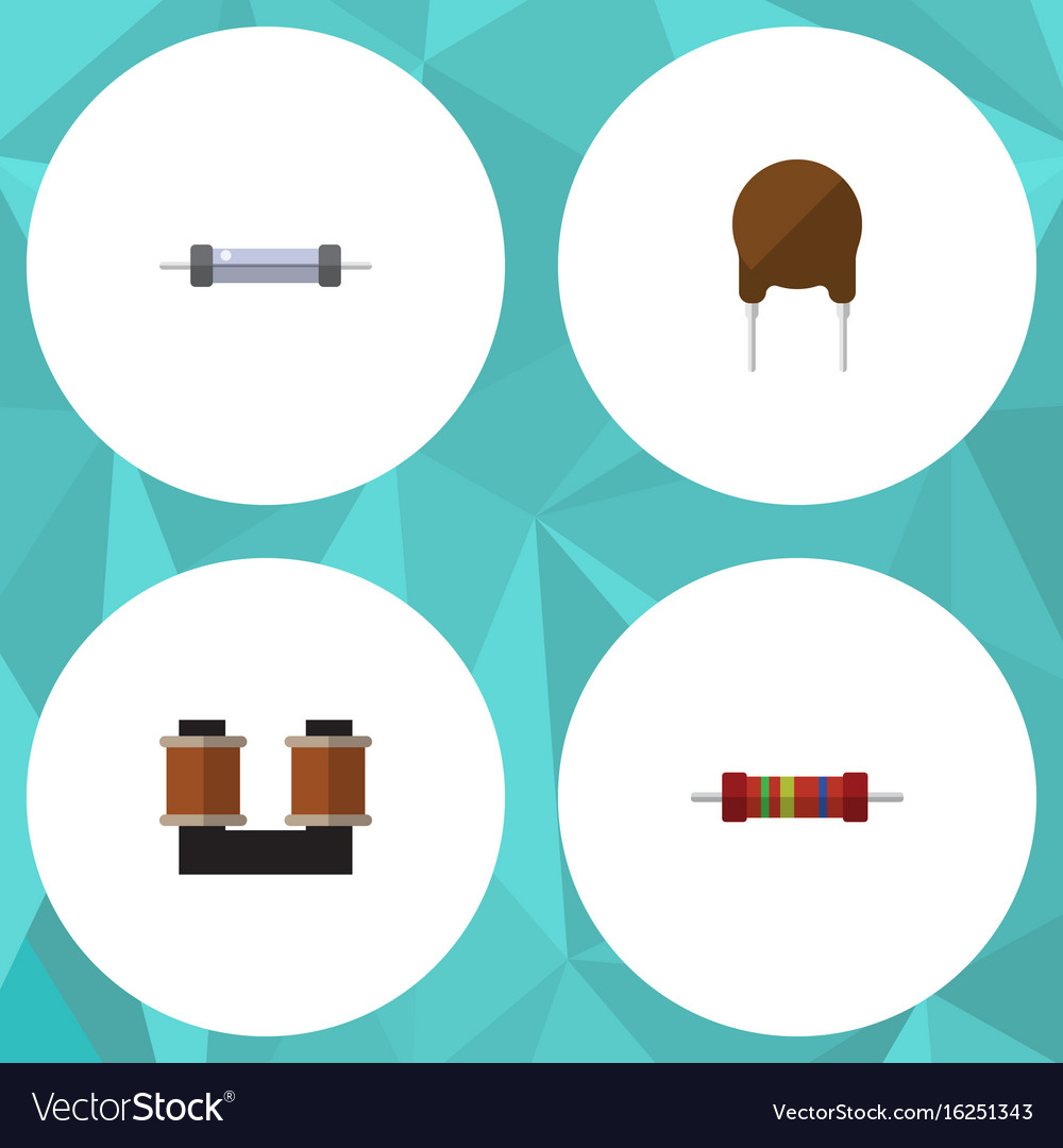 Flat icon technology set of resistor coil copper