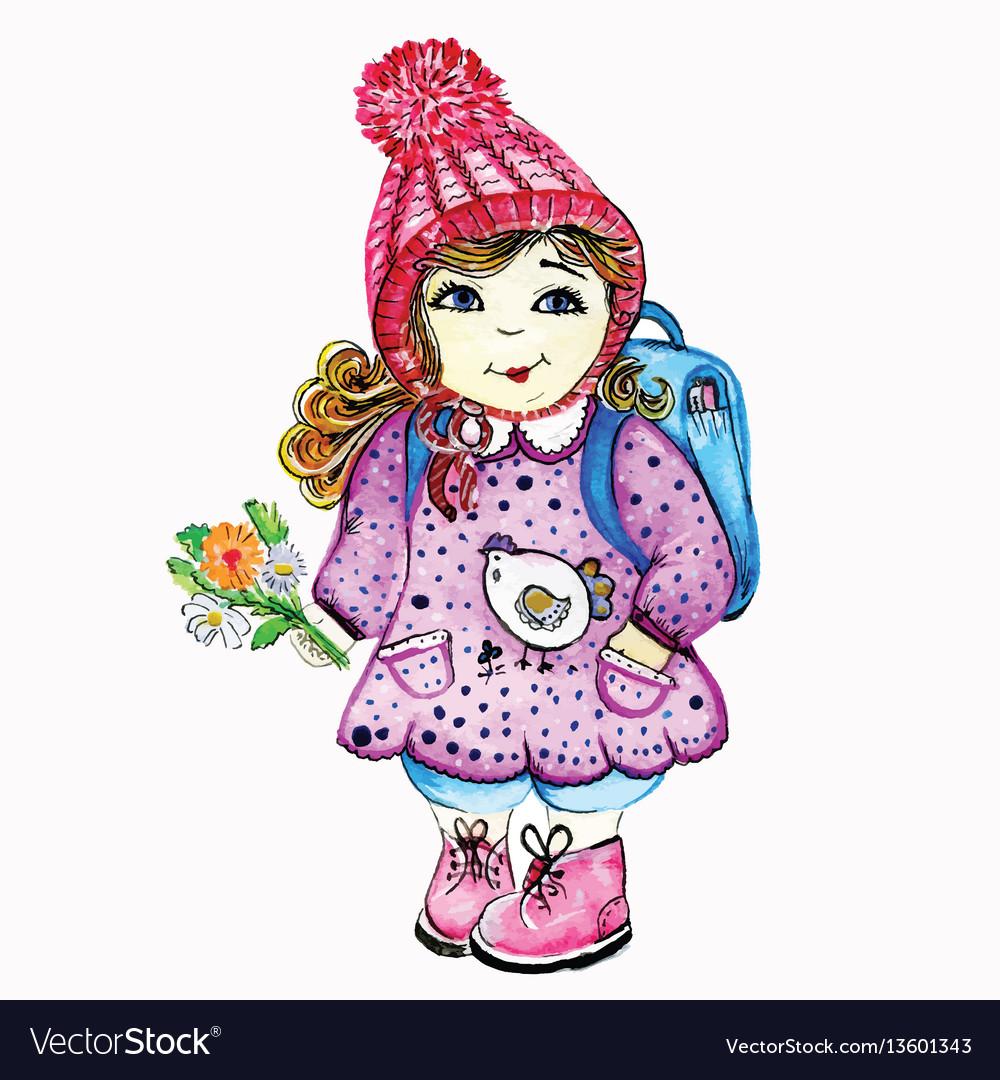 Girl schoolgirl goes to school in a cap and