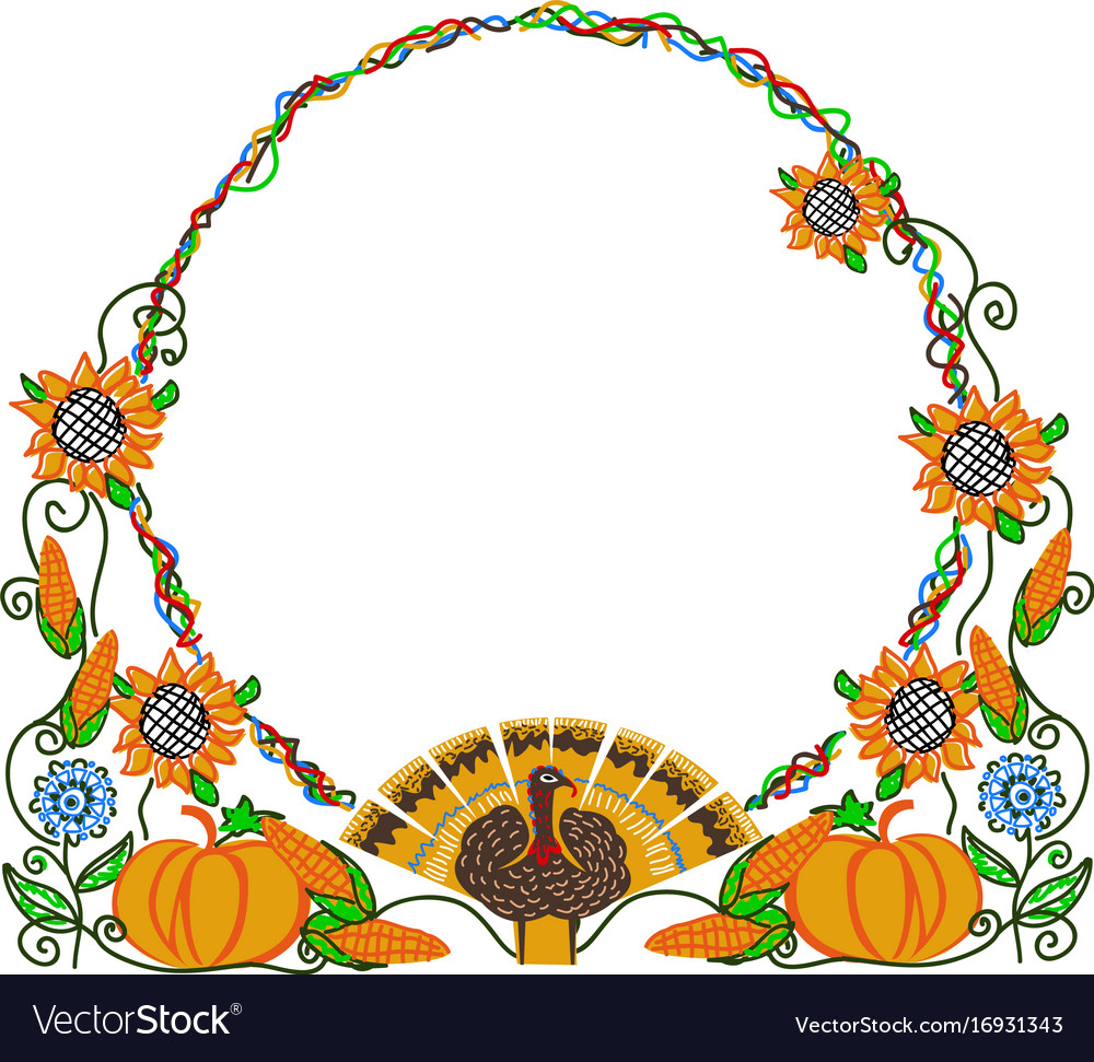 Happy thanksgiving frame Royalty Free Vector Image