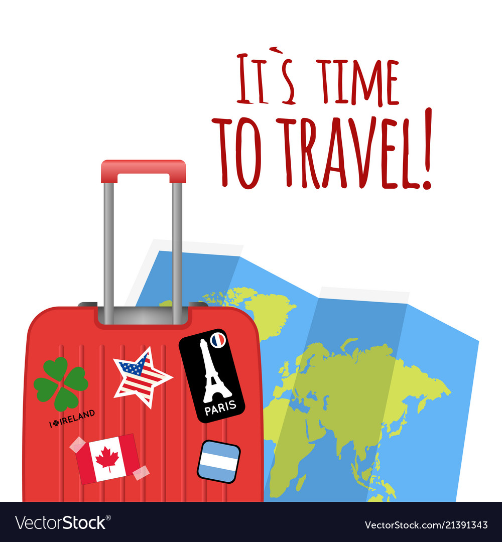 Its time to travel baggage map background i