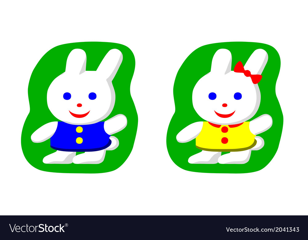 Little rabbit boy and rabbit girl