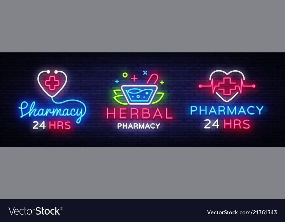 Pharmacy neon sign collection herbal