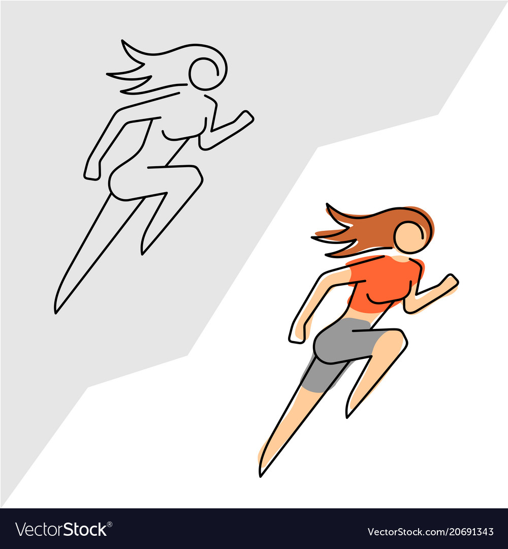 Running woman logo line style woman athlete run vector image