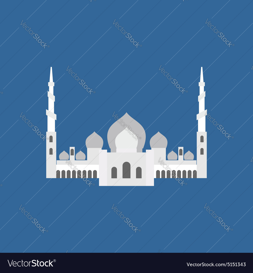 Sheikh Zayed Grand Mosque in Abu Dhabi flat sign
