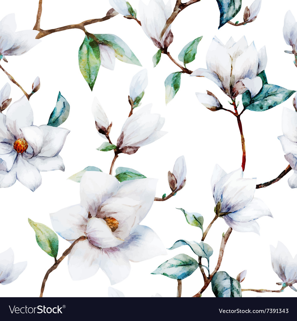 Watercolor magnolia pattern