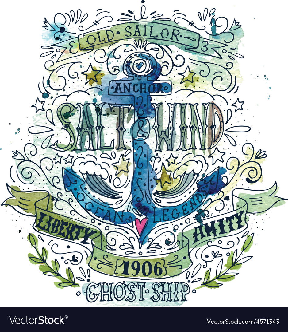 Watercolor vintage label with an anchor
