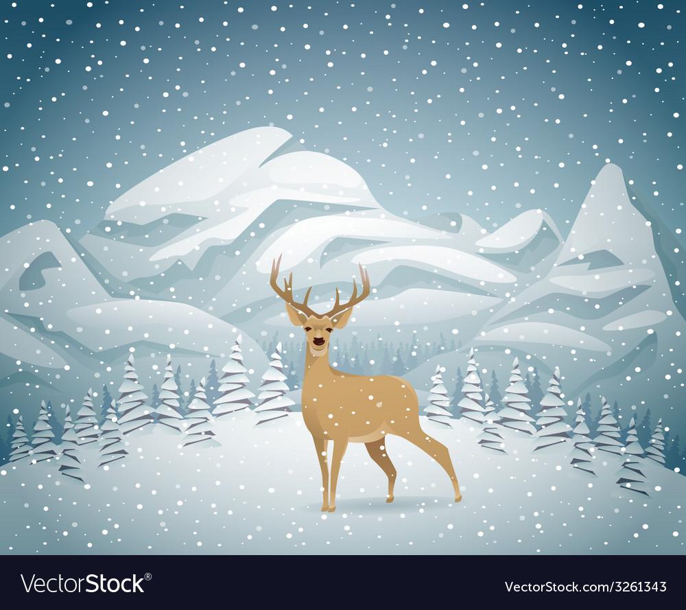 Winter holidays landscape with reindeer