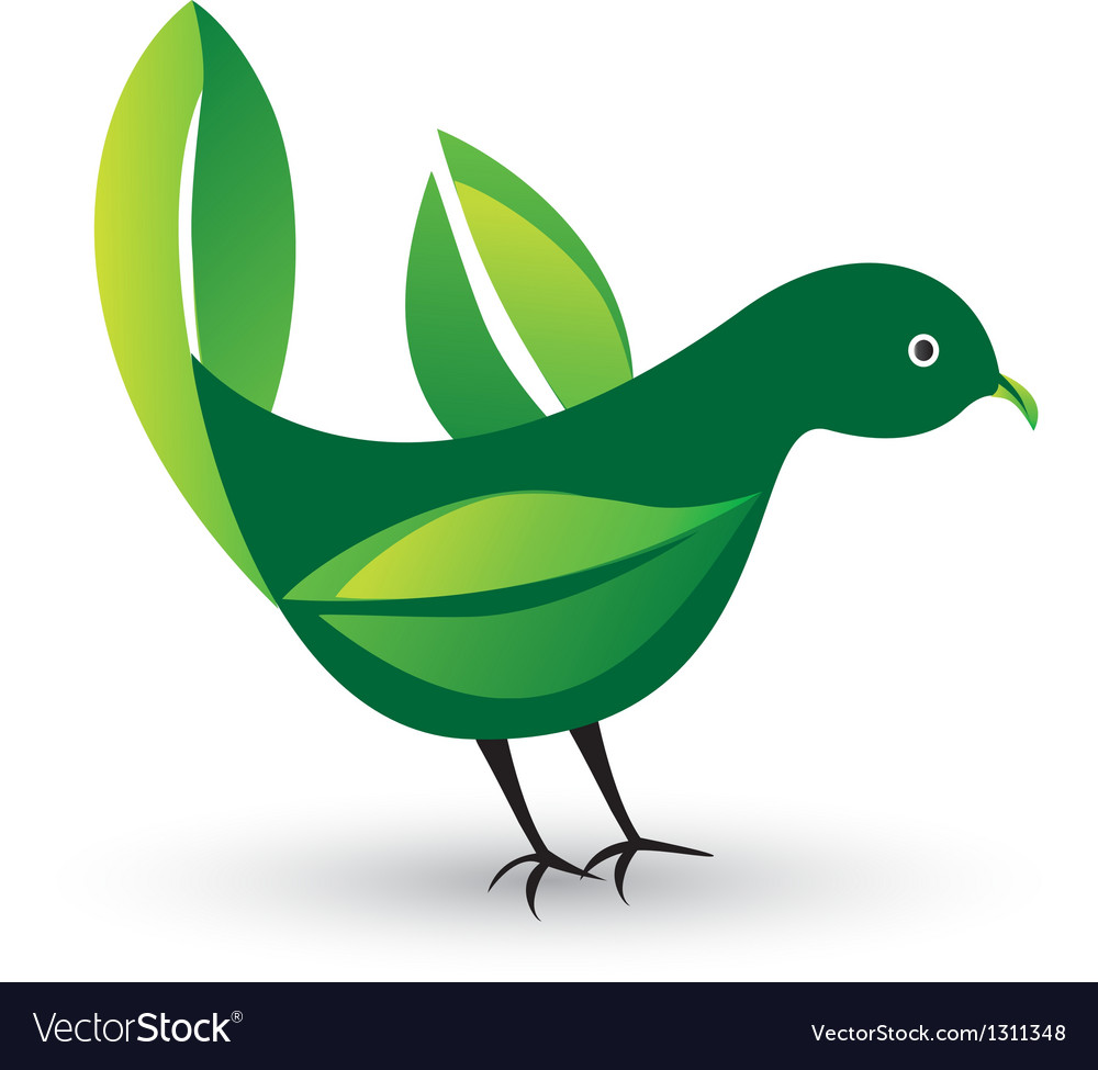 Bird with ecological leafs
