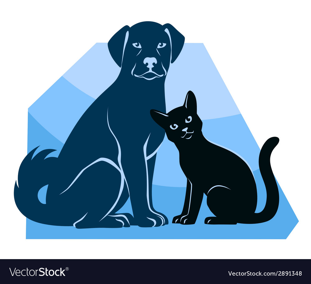 Cat and dog sitting silhouettes