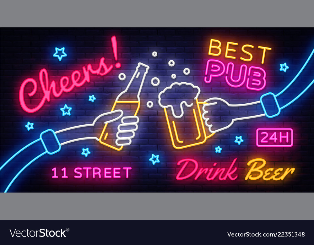 Cheers neon banner party celebration in