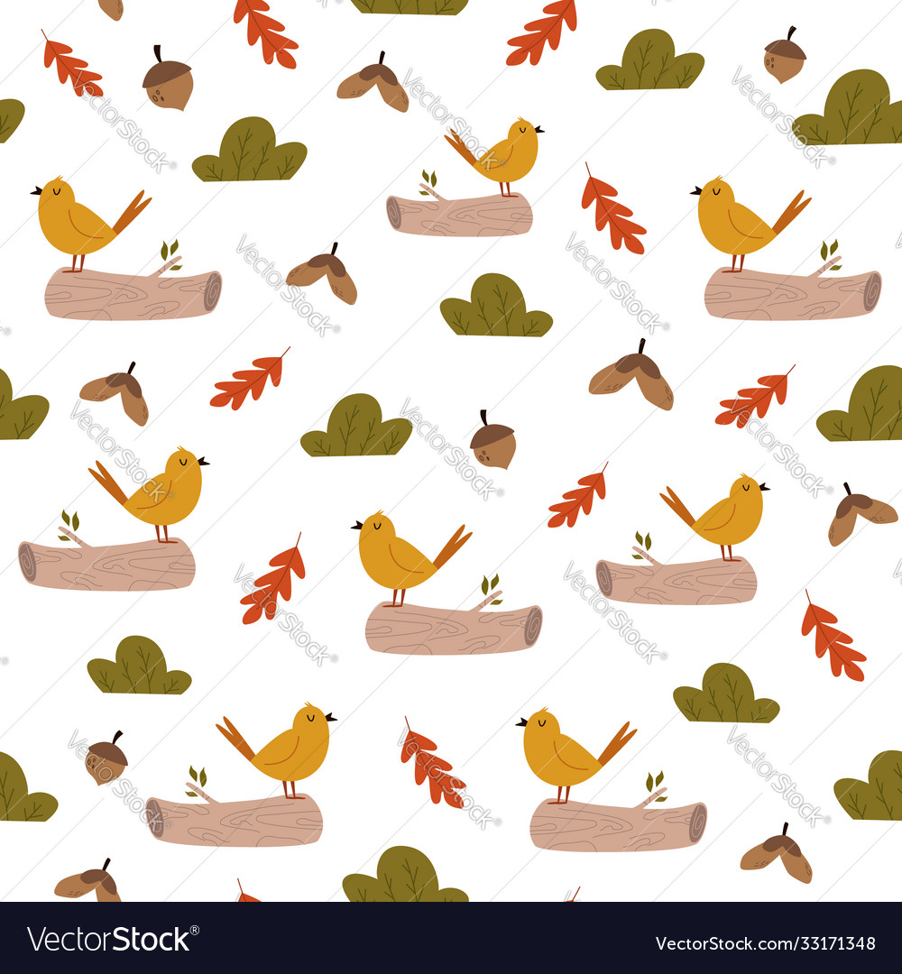 Cute seamless pattern with bright birds and forest