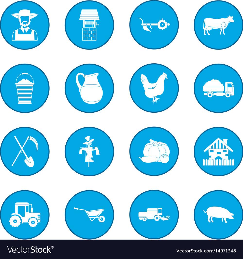 Farm black icon blue vector image
