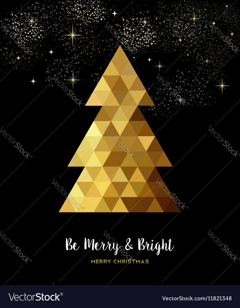 Gold Christmas tree design in gold low poly style