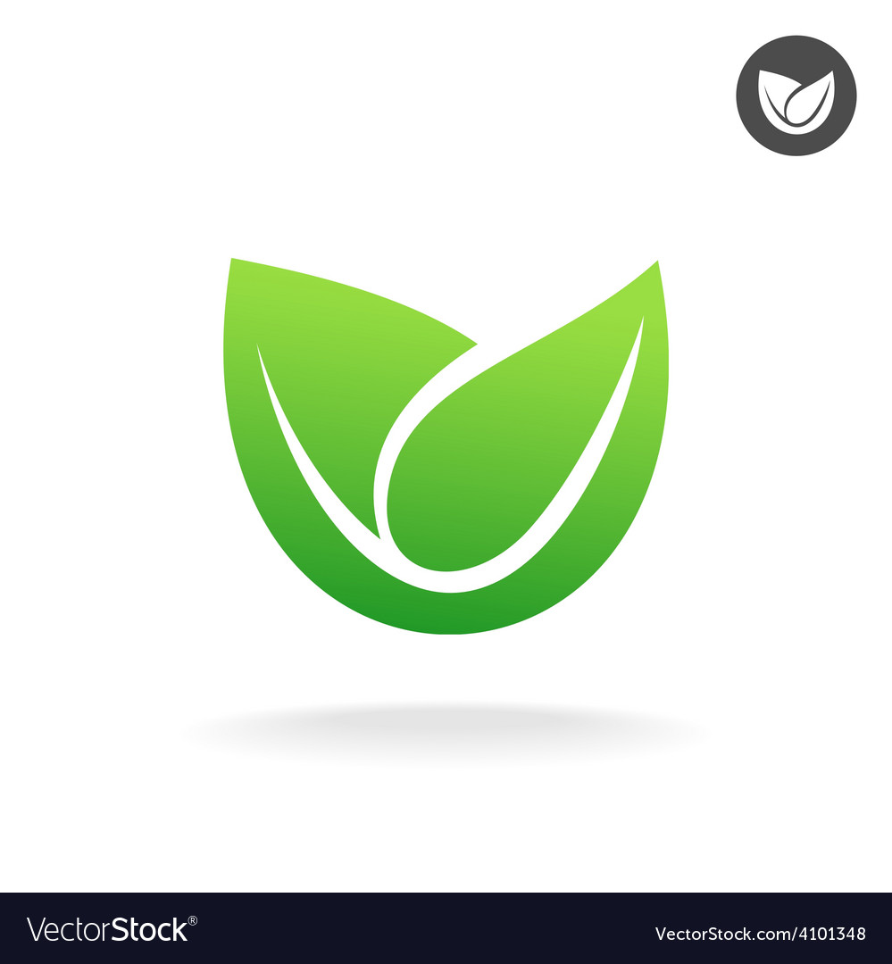 Green Leaf Icon Eco Symbol Royalty Free Vector Image