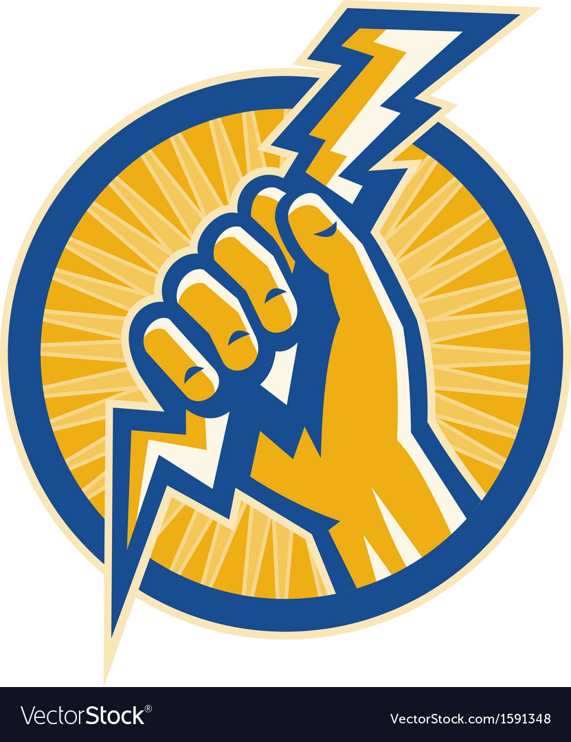 Hand hold a lightning bolt of electricity set