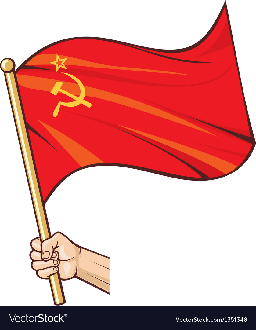 Hand holding ussr flag