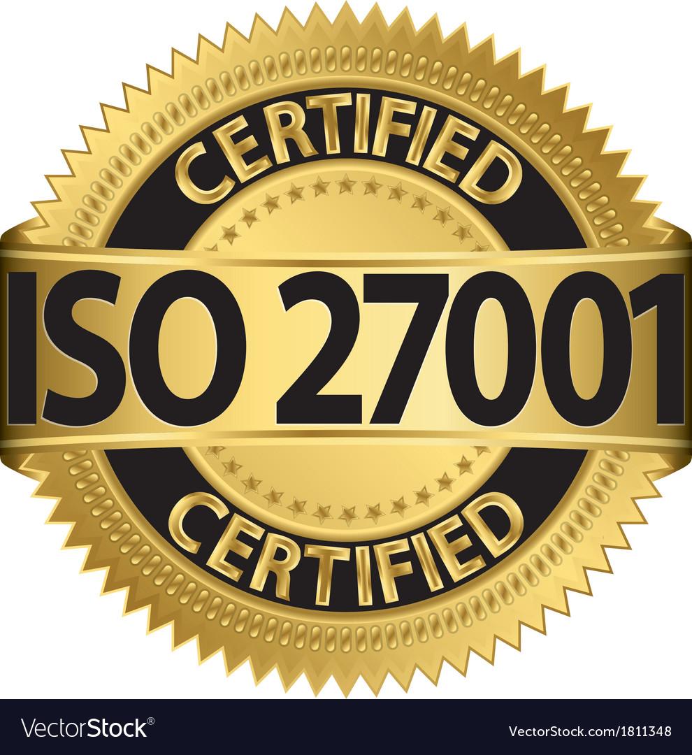 ISO 27001 certified golden label
