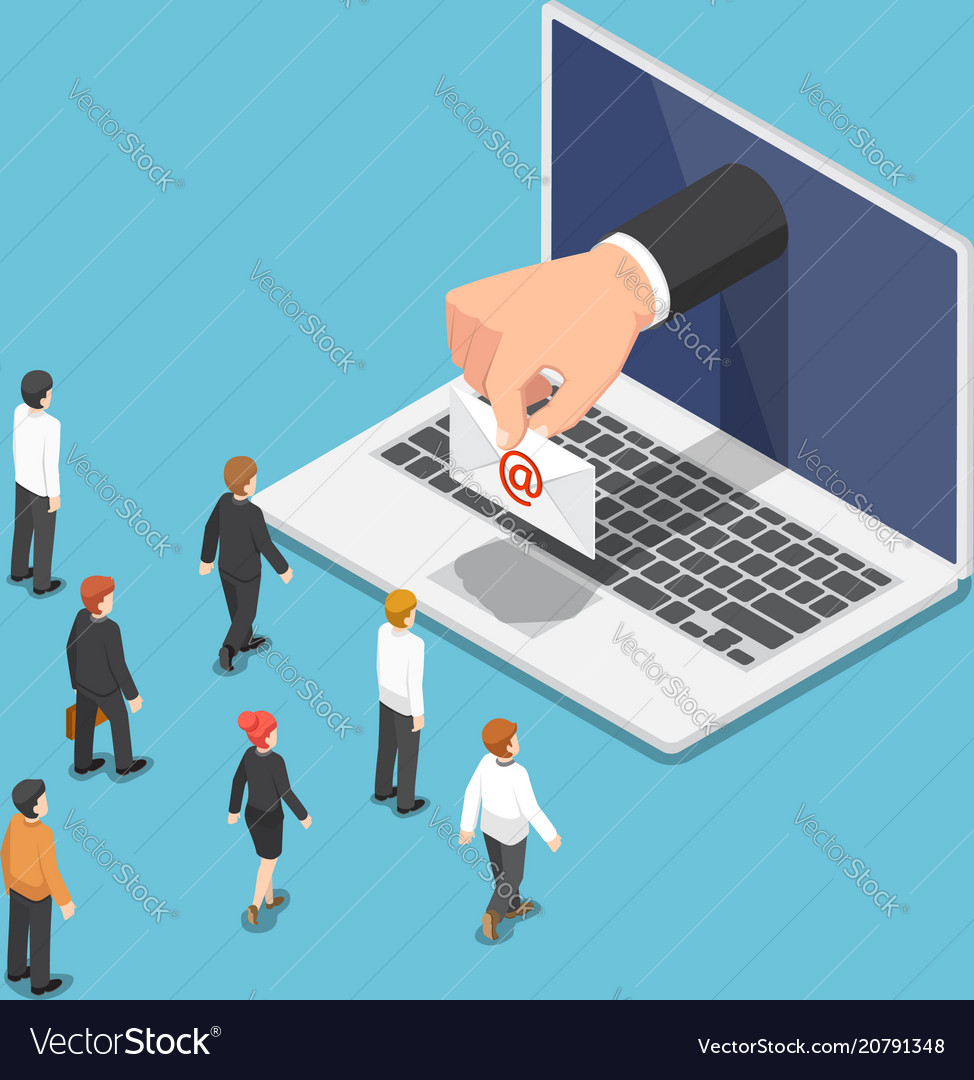 Isometric businessman hand come out from laptop