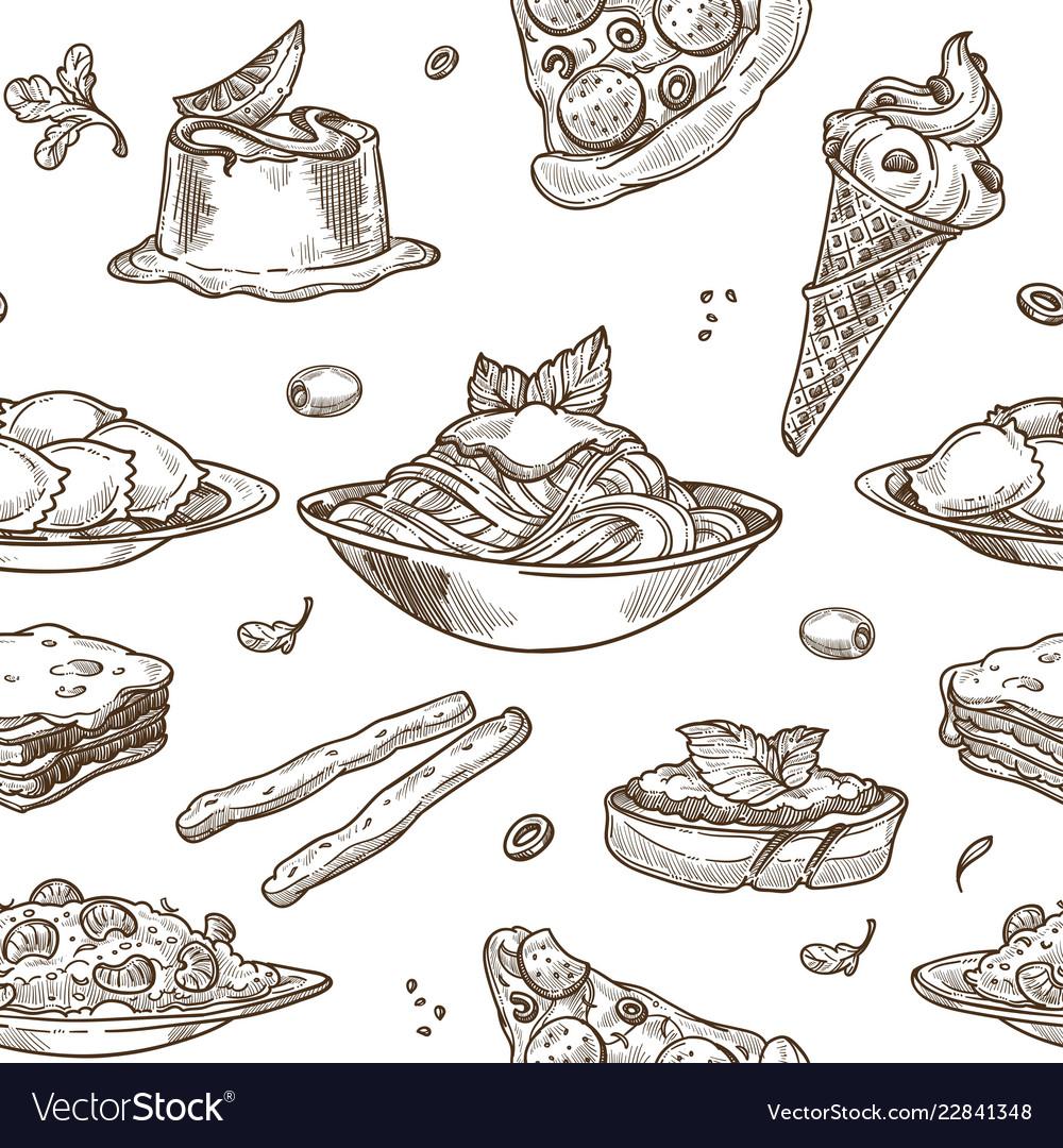 Italian cuisine sketch pattern background