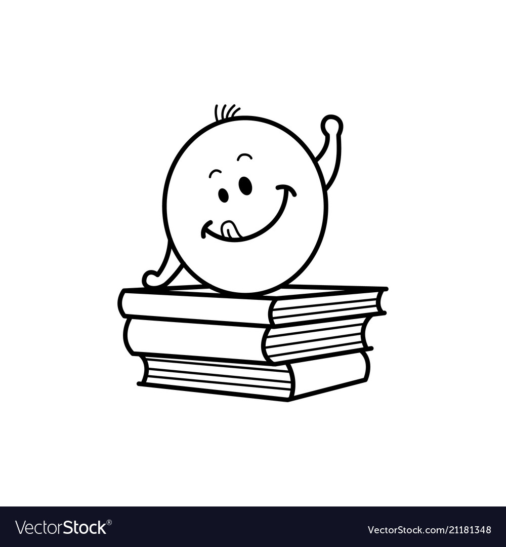 Male Smiley Face Emoticon Textbook Royalty Free Vector Image