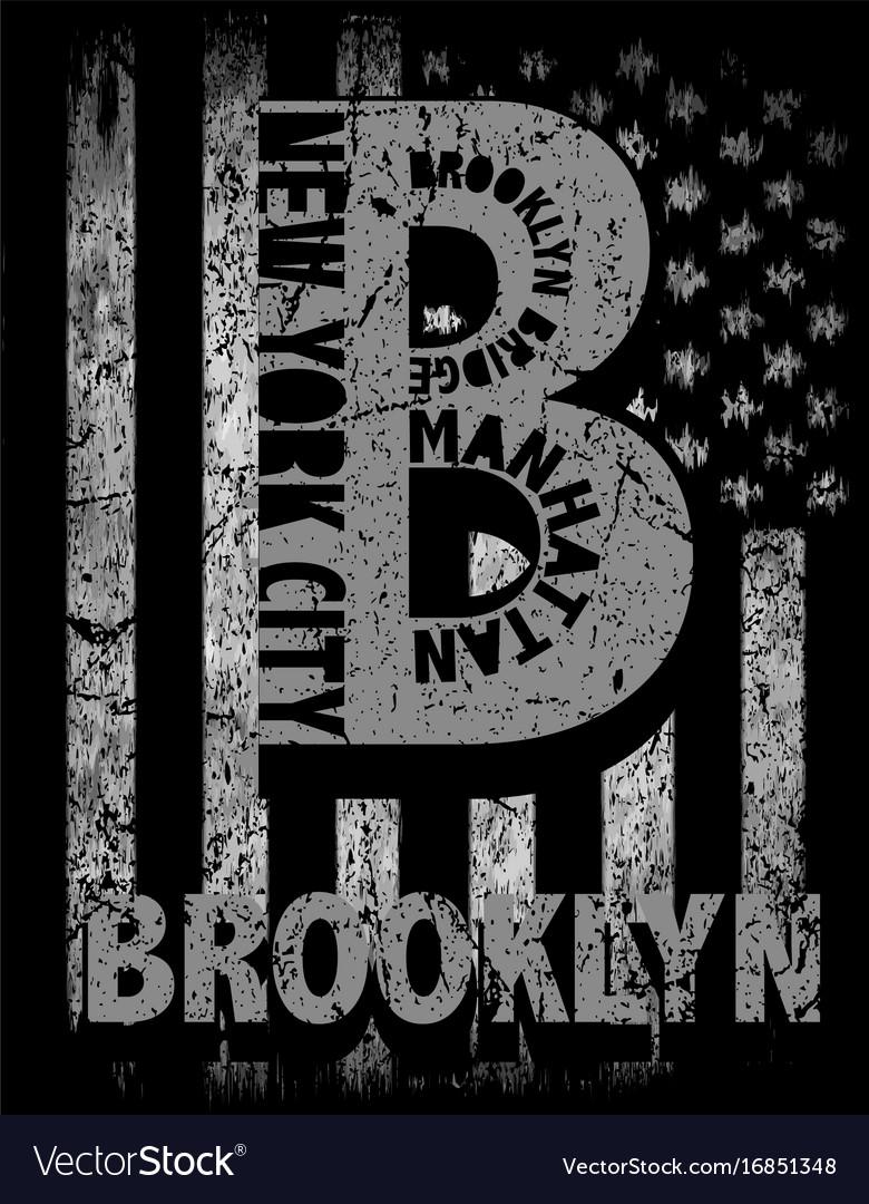 New york city brooklyn stylized american flag