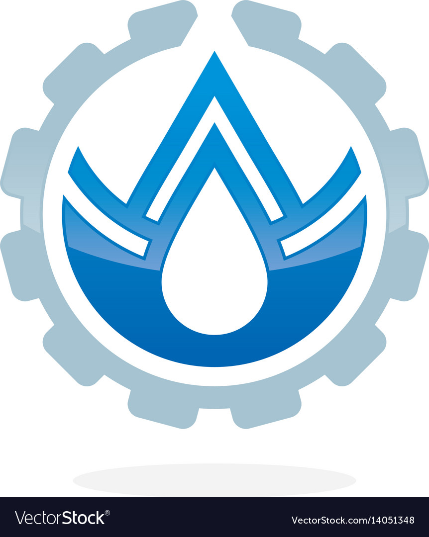 Plumbing service concept with water drop vector image