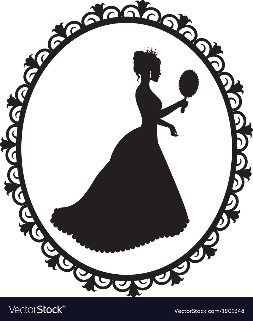 princess silhouette in the frame royalty free vector image