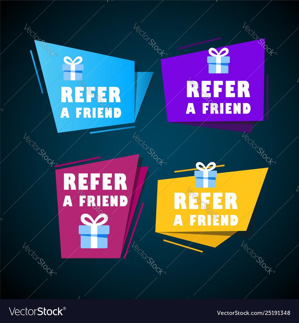 Set doodle speech bubbles with refer a friend