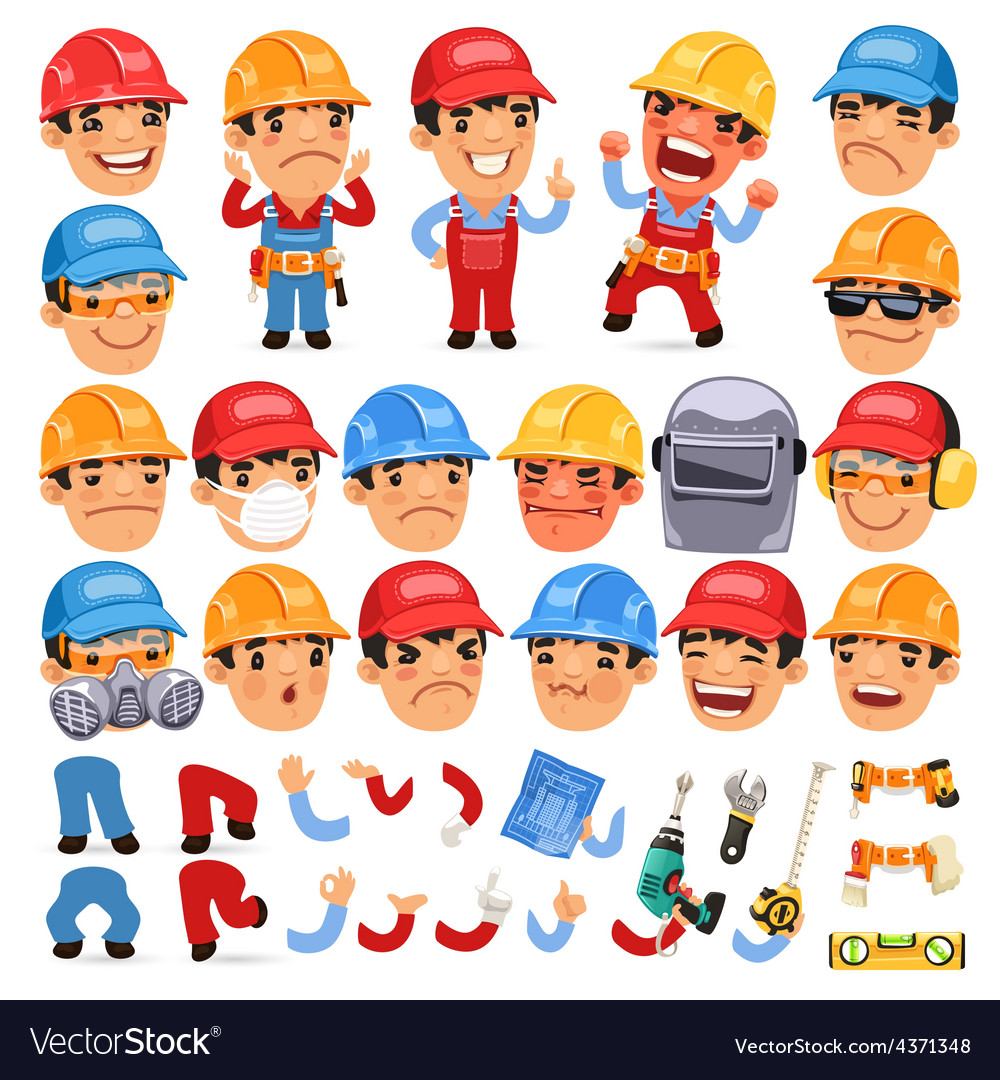Set of Cartoon Worker Character for Your Design or vector image