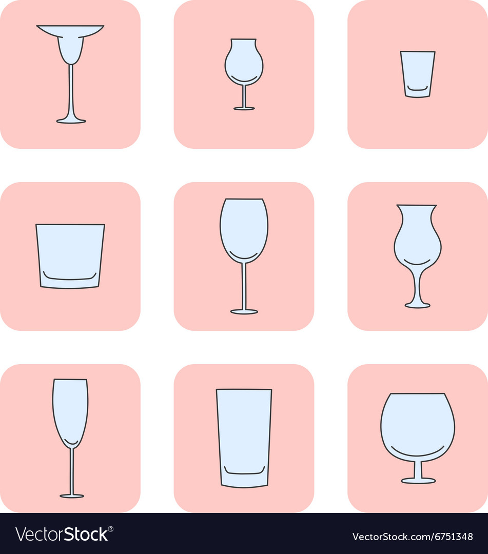Set of empty glasses vector image