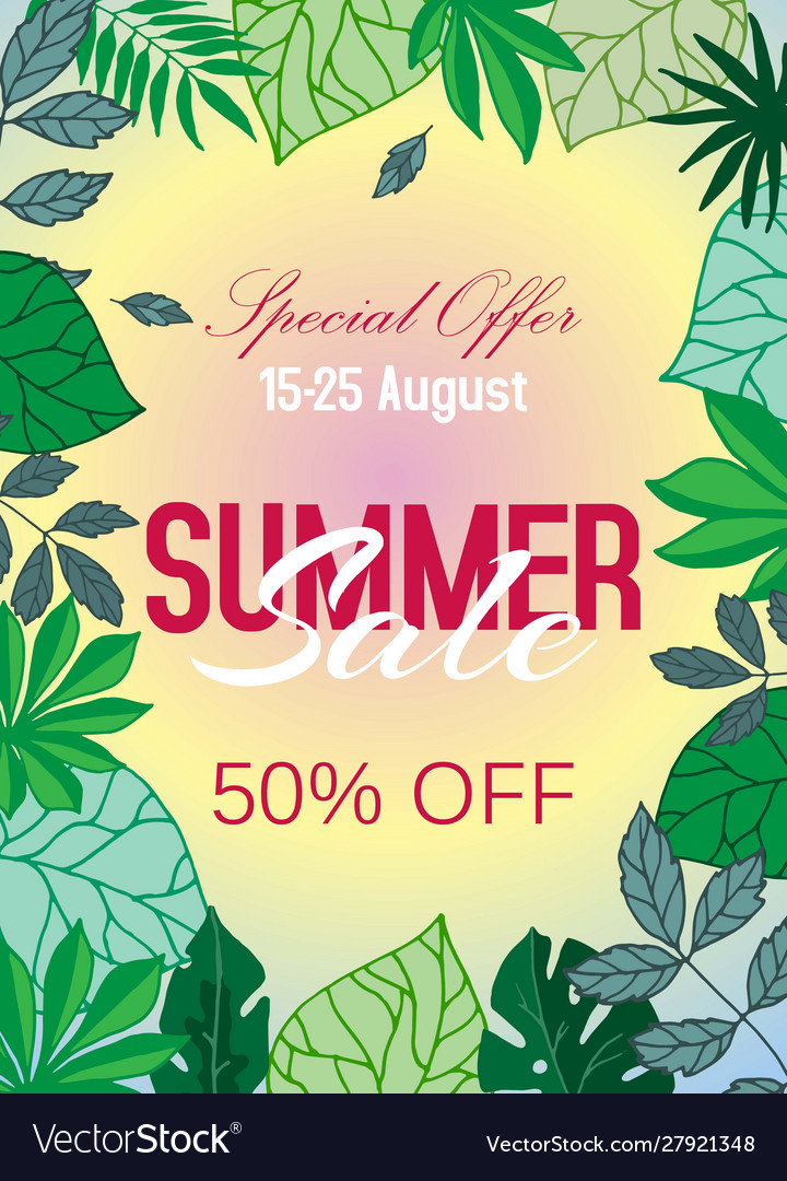 Summer sale tropical poster with palm leaves
