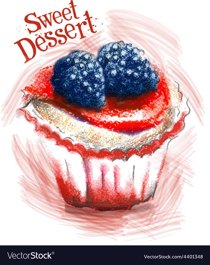 Sweet dessert logo design template cake vector image