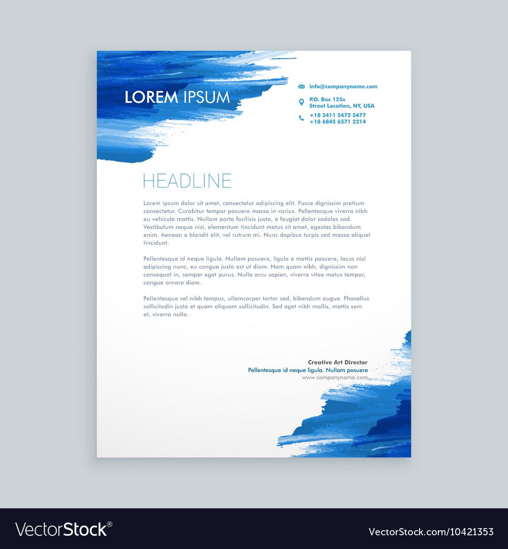 Blue flowing ink letterhead template vector image