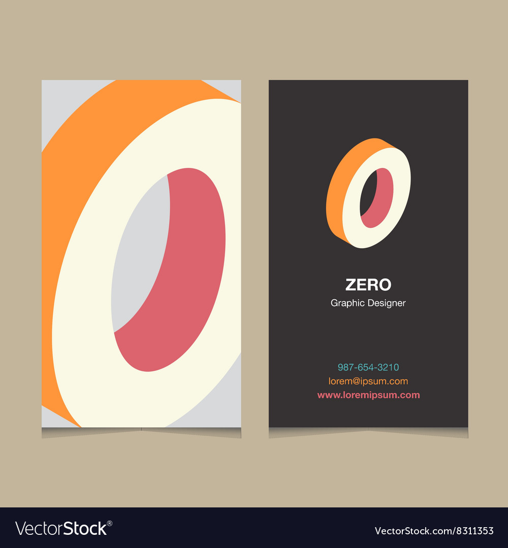 Business card number 0 vector image