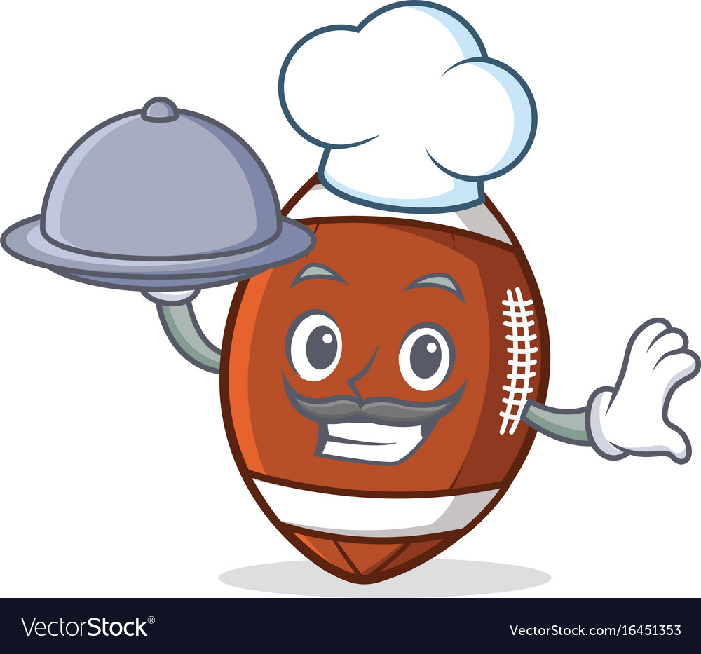 Chef with food american football character cartoon vector image