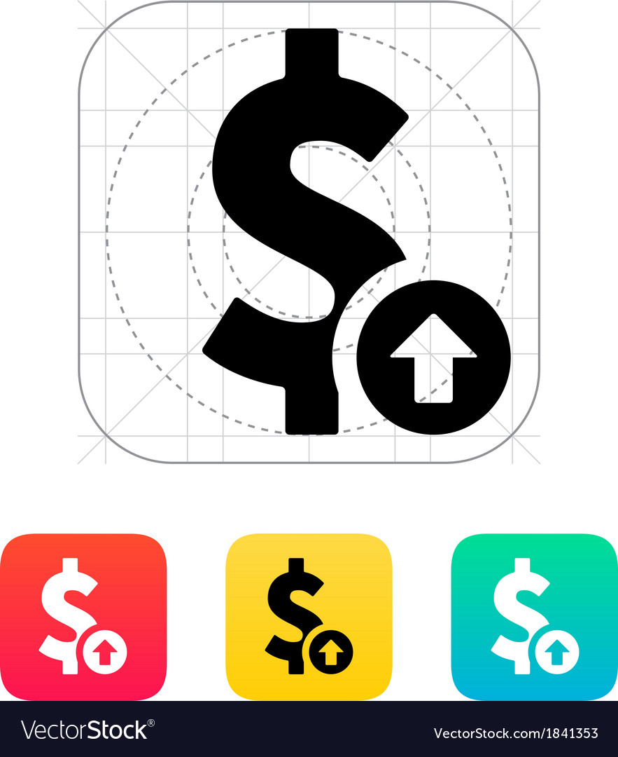 Dollar Exchange Rate Up Icon Royalty Free Vector Image