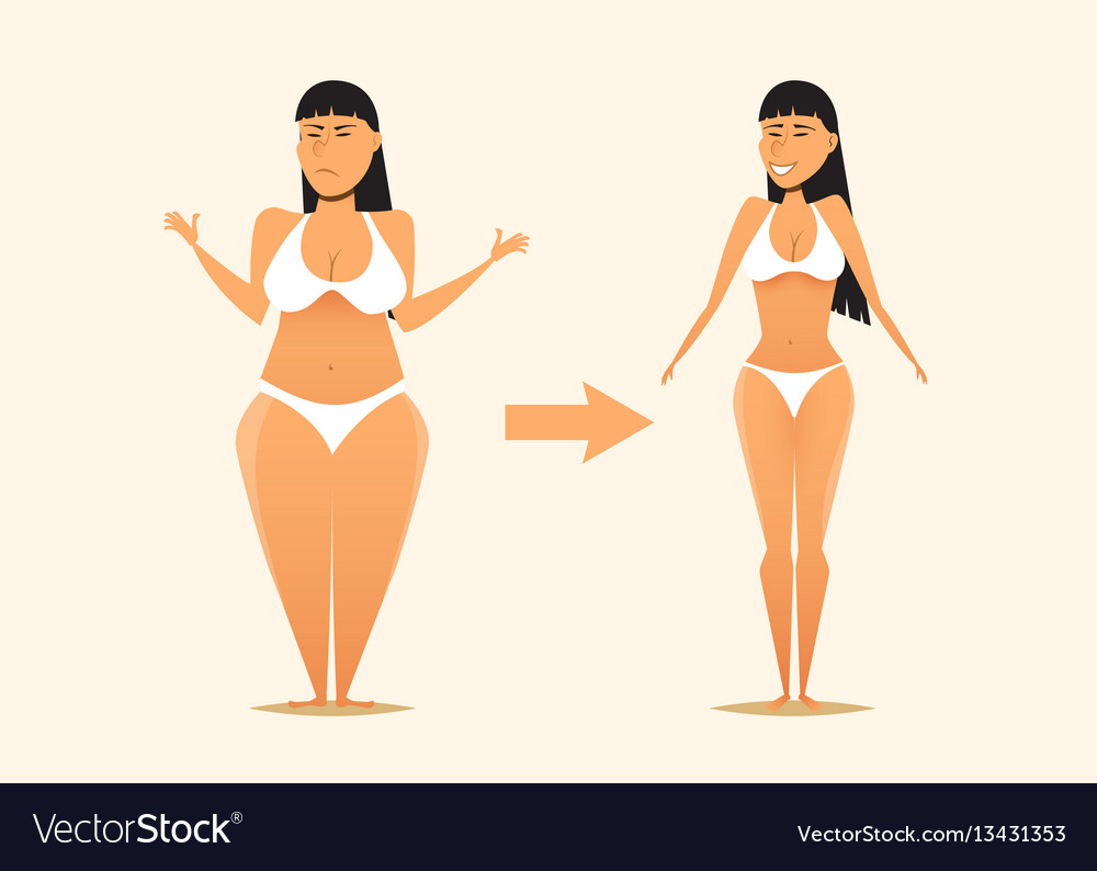 Fat and skinny girl after the diet vector image