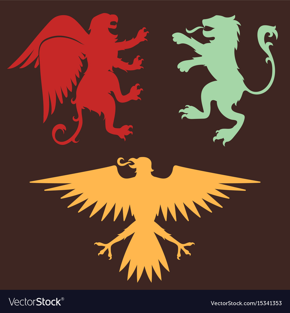 Heraldic lion royal crest medieval knight eagle