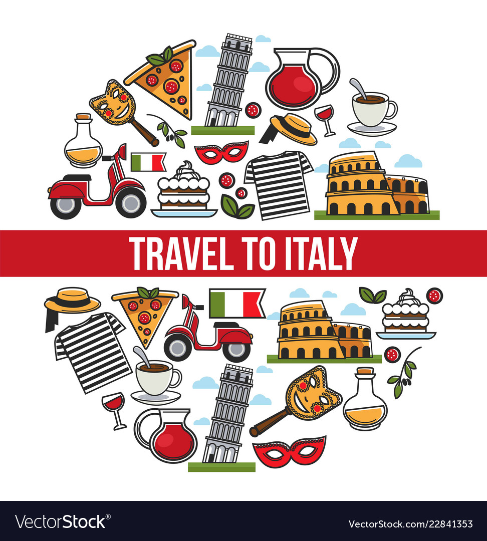 Italy sightseeing landmarks and famous travel