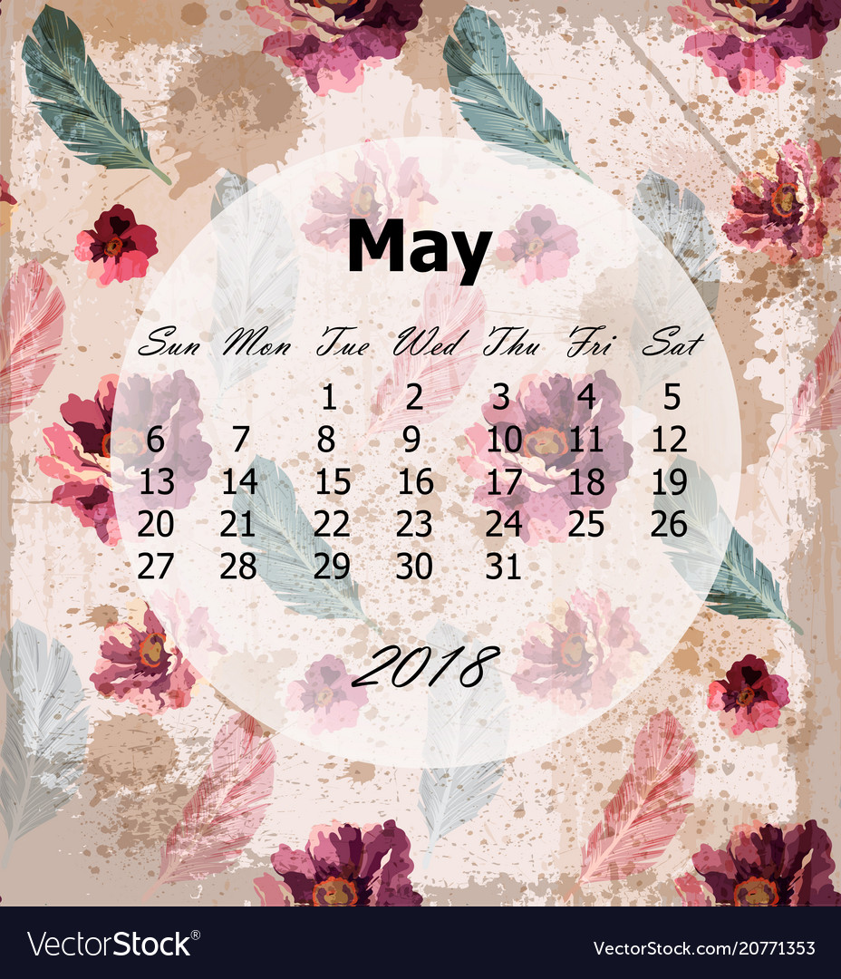 May calendar page vintage rose backgrounds
