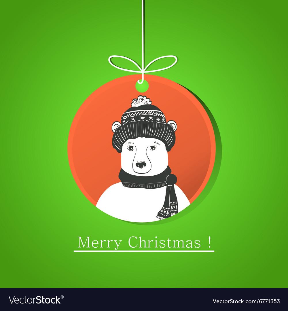 Modern flat card with doodle bear on Christmas
