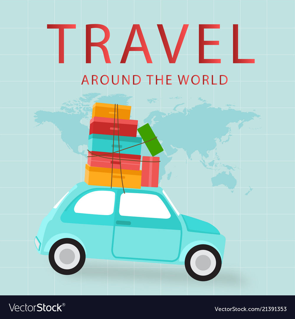 Travel around the world car carries baggage backgr