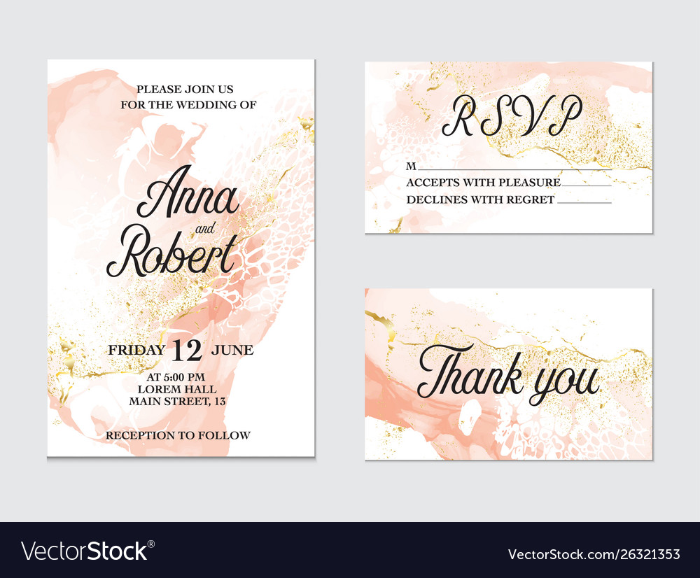 Trendy greeting card set with watercolor liquid