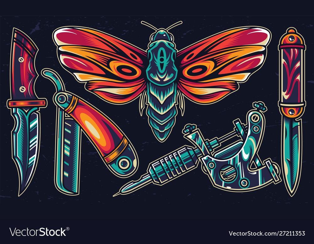 Vintage colorful flash tattoos set